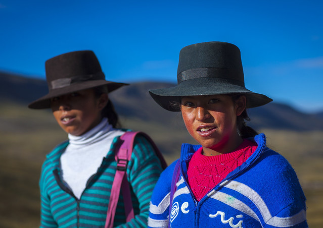 Girls With Hats, Cuzco, Peru