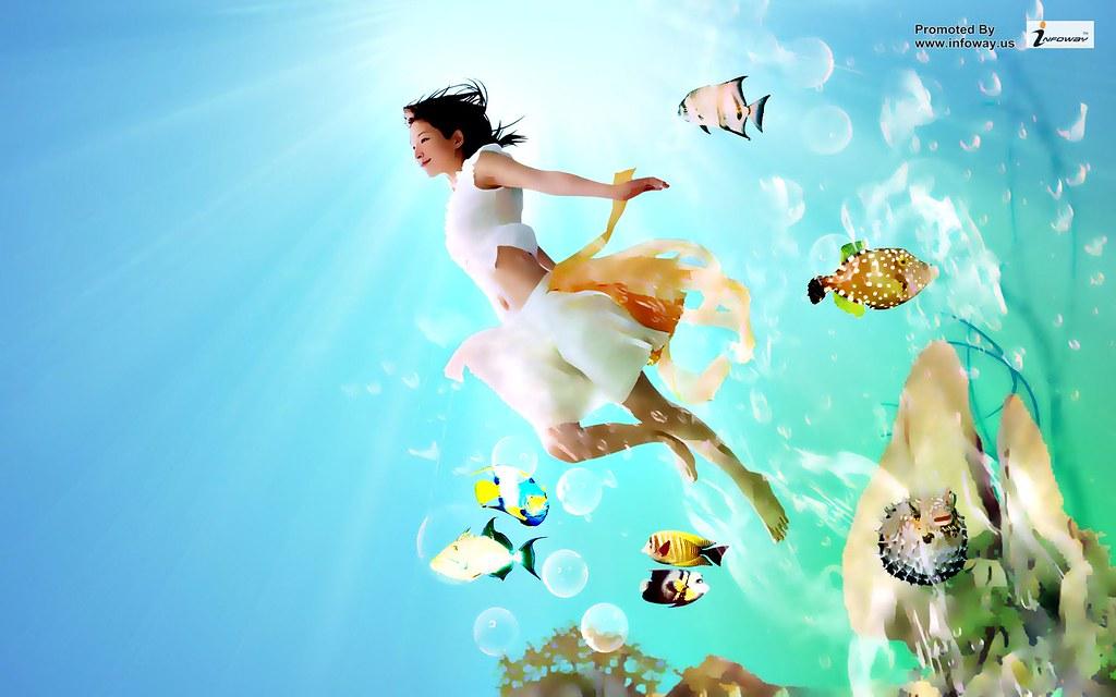 Girl And Sea Fish Hd Wallpaper Girl And Sea Fish Hd Wallpa