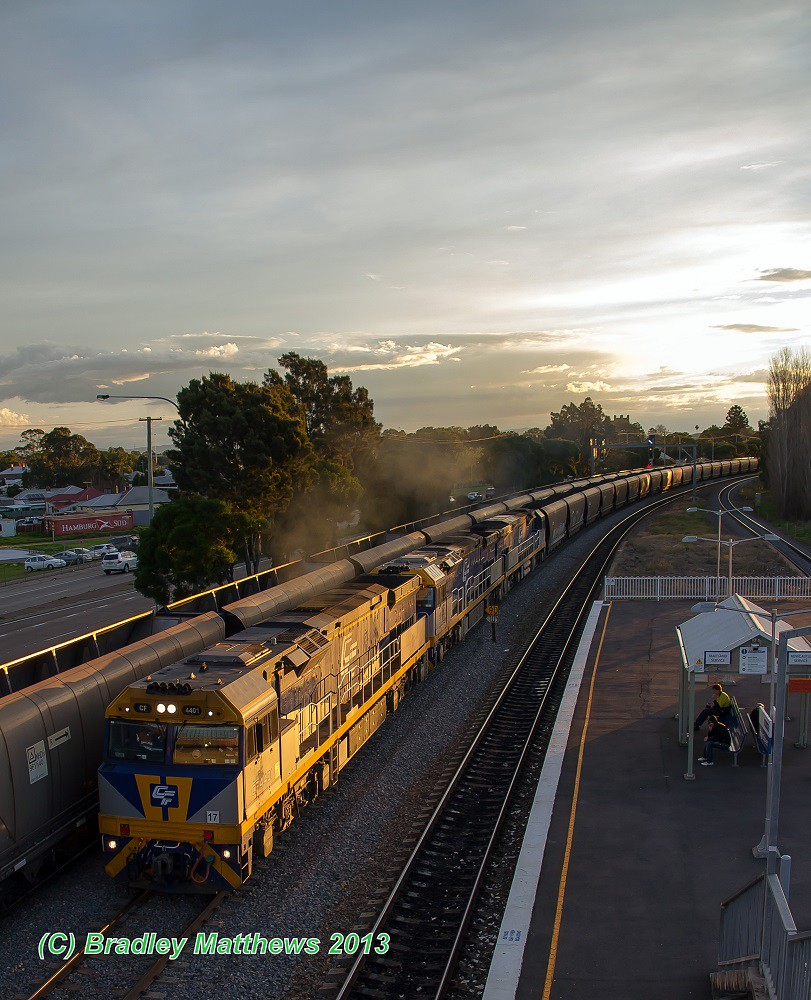 CF4401-CF4402-CF4403 with coal train to Kooragang at High St  Station in Maitland (24/6/2013) by Bradley Matthews