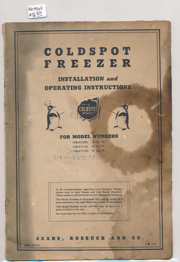 RD4962 1949 Coldspot Freezer Manual