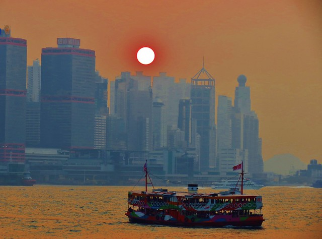 Sunset over Victoria Harbour, Hong Kong
