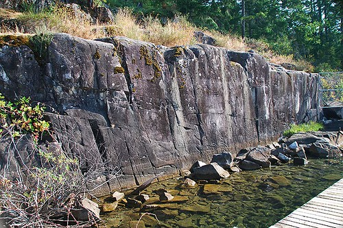 Petroglyph Wall at Sproat Lake Provincial Park, Port Alberni, Vancouver Island, British Columbia, Canada