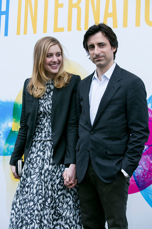 Director Noah Baumbach and Greta Gerwig outside the Filmho
