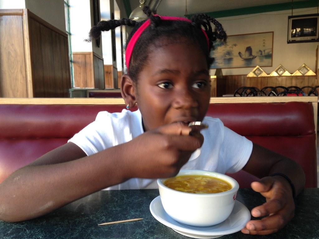Black girl eating