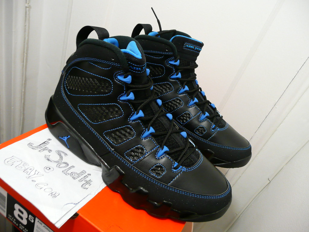 new product 2df30 6d48a ... Nike Air Jordan 9 Retro Black White-Photo Blue