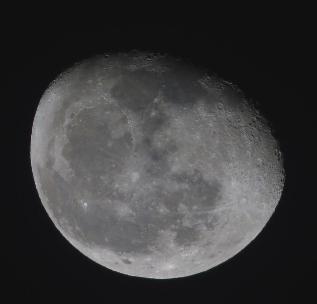 Waning Gibbous, 86% of the Moon is Illuminated taken on a partly cloudy January 19, 2014 with a Panasonic FZ70 using a LT55 TCL  P1030451