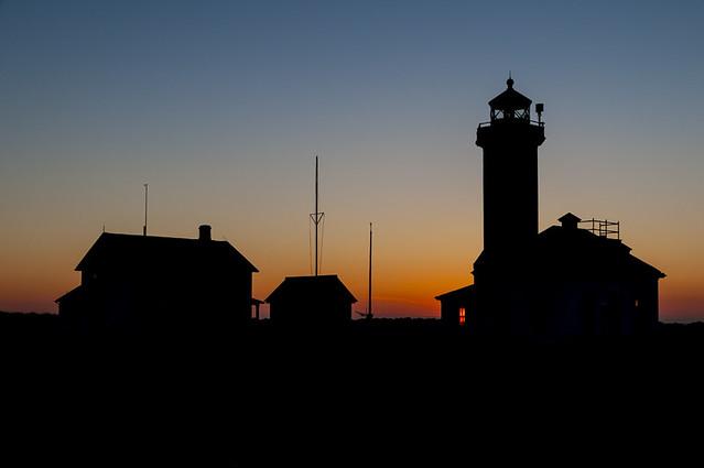 Point Wilson Lighthouse sunset silhouette