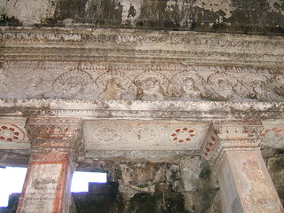 Dercorative lintel and remnants of ancient painting