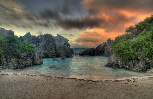 sea summer clouds sunrise bermuda hdr