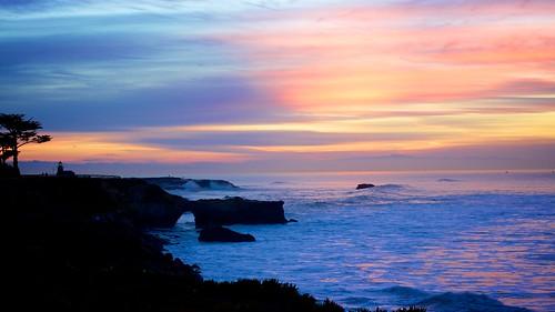ocean california morning pink blue sea sky orange santacruz lighthouse reflection beach colors beautiful clouds sunrise point day bright cloudy pacificocean 40mm cypresstree lighthousepoint