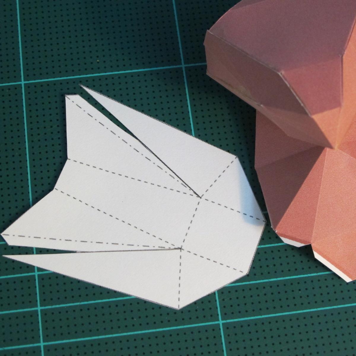 วิธีทำโมเดลกระดาษเรขาคณิตรูปกระต่าย (Rabbit Geometric Papercraft Model) 016