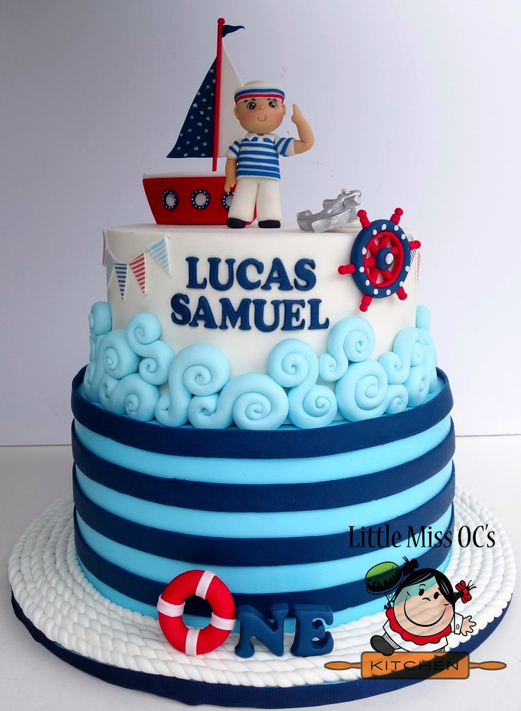Enjoyable Nautical Birthday Cake Little Miss Ocs Kitchen Flickr Personalised Birthday Cards Veneteletsinfo