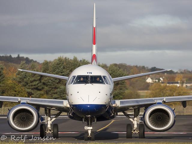 G-LCYN Embraer 190 British airways Edinburgh airport EGPH 04.11-16