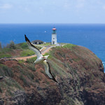 Red-footed booby and lighthouse