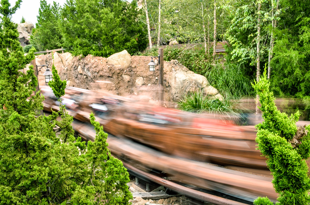 MK Mine Train car going by