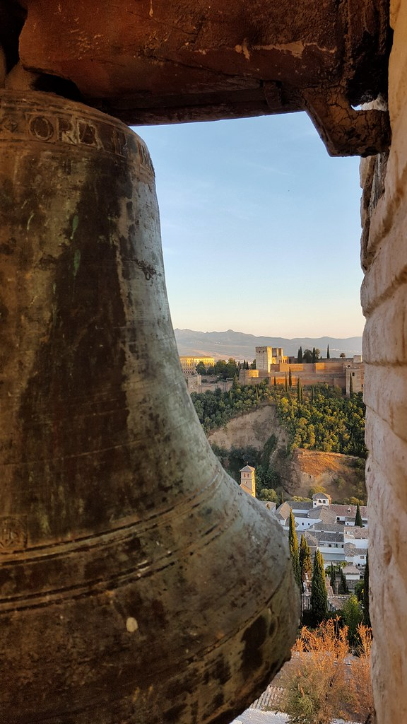The Alhambra from the bell tower of Saint Nicolas Church, Granada. Spain