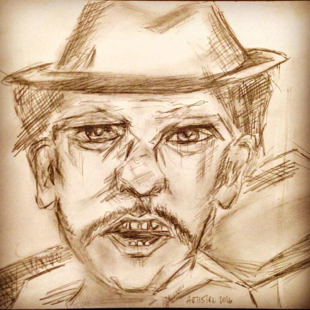 Sketch man portrait real life anger emotions expression