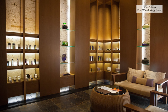 Interior of the retail area of the spa