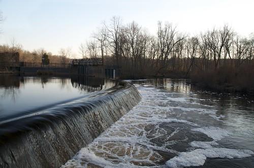 stream dam water waterfall autumn background wallpaper