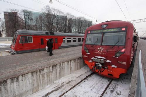 Aeroexpress EMU ЭД4М-0408 awaits departure time from Paveletsky railway station