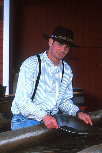 Gold Panning Demonstration in Barkerville, Cariboo, British Columbia, Canada
