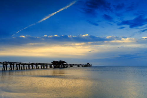blue sunset sea beach gold pier unitedstates florida sunsetandsunrises