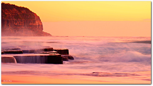 morning sea sky seascape color colour beach sunrise canon geotagged dawn seaside rocks flickr surf waves shoreline sydney wave australia pacificocean newsouthwales escarpment northernbeaches canonphotography mickspics