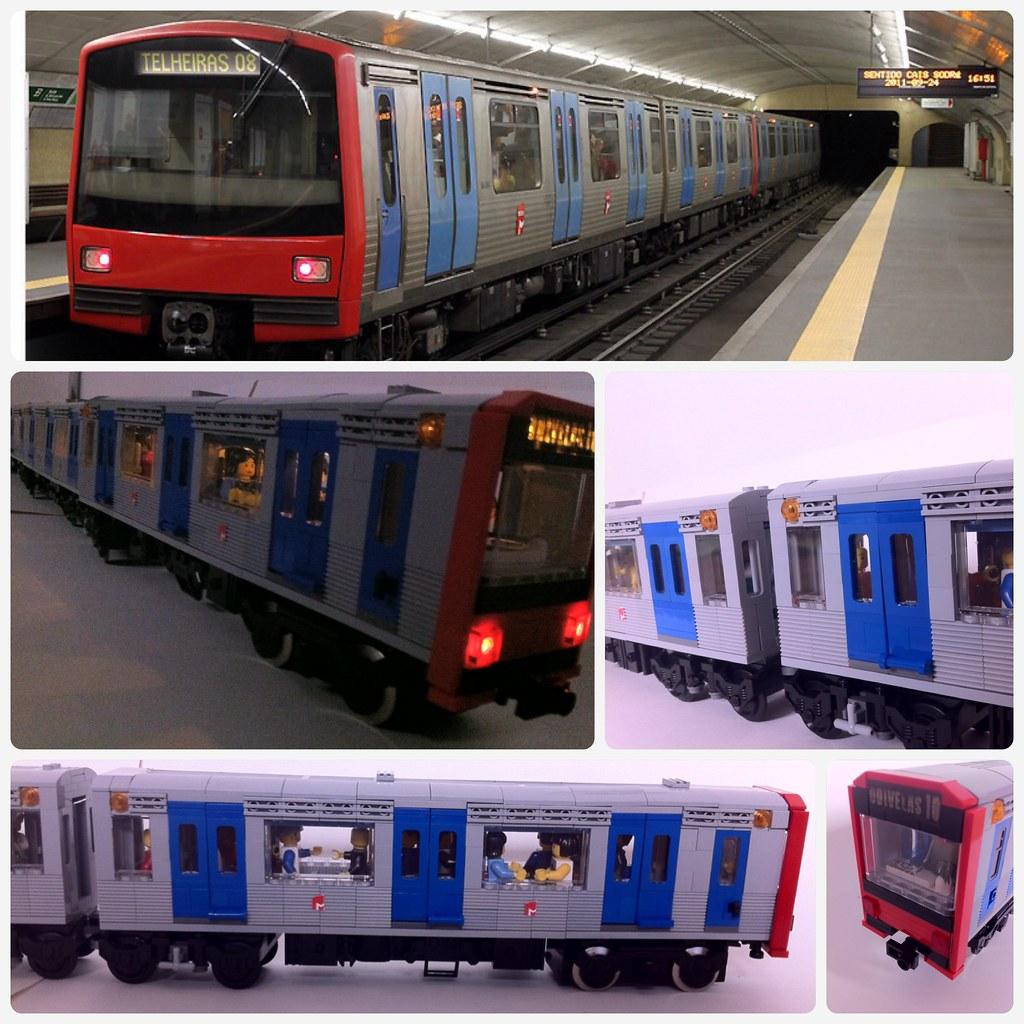 Lisbon Metro   Lisbon subway/metro train 9V with custom ligh
