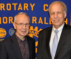 L-R: Former North Raleigh Rotary member Art Clark with his good friend and today's speaker Tom White. Tom is the Director of Economic Development Partnership at NC State.
