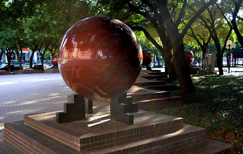 Granite Kugel Ball fountain in front of the Wortham Center