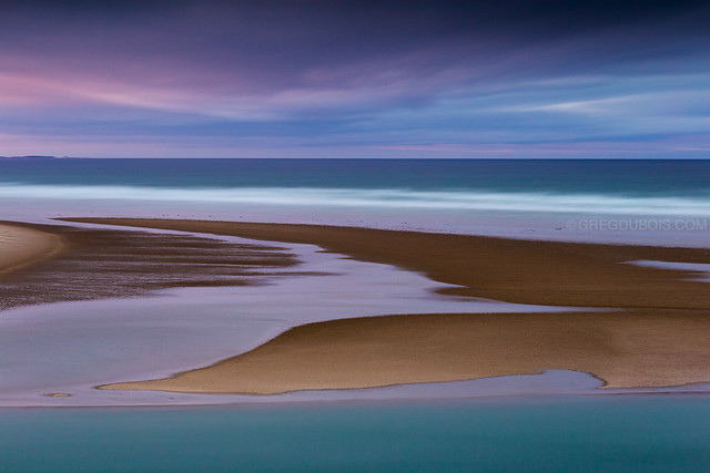 Ogunquit Beach Maine, Twilight after Stormy Sunset with Rising Tidal Water