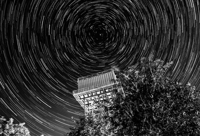 45 Minute Star Trails Over Upper Heyford Water Tower (mono version) 10/08/15