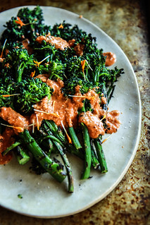 Grilled Broccolini with Romesco Sauce from HeatherChristo.com | by Heather Christo