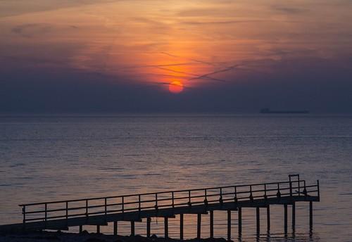 viken bathingpier sunset january winter skåne sweden öresund denmark outdoor