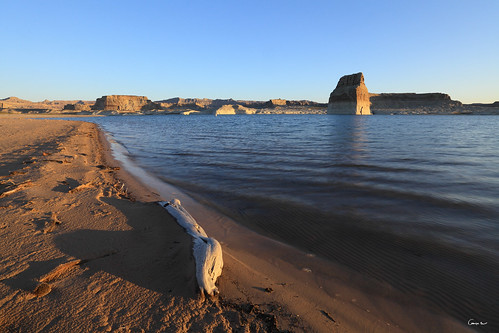 usa lake beach rock sunrise landscape bay utah near united canyon glen page powell lone states campground paysage unis wahweap etats