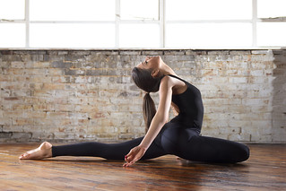 yoga  pigeon pose with back bend 580ex ii and 540ez left