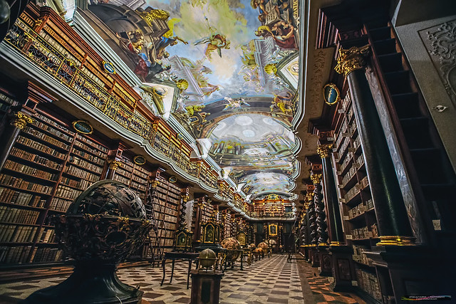 Old baroque Clementinum library hall