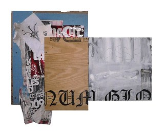 Zavier Ellis '28 Days', 2010 Oil, gloss, spray paint, pencil, ripped posters, pencil drawings on found boards & canvas 90x113cm