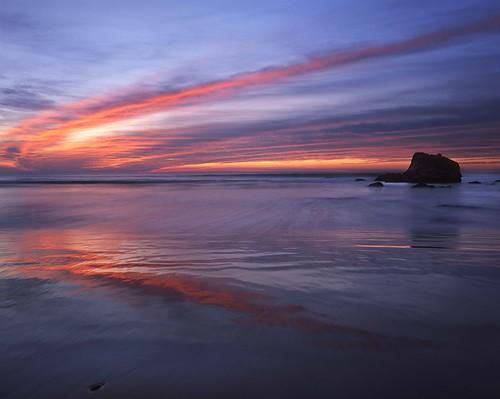 sunset sunrise color clouds wet sand reflection surf ocean sea beach coast red orange sonoma county salmon creek california rz67 velvia provia e100 wide angle north bay area