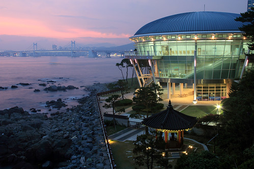 light sunset sea night korea busan southkorea pusan apec haeundae nurimaru gwanganbridge