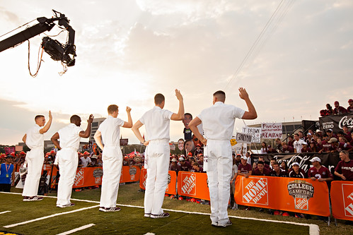 Yell leaders during College Gameday