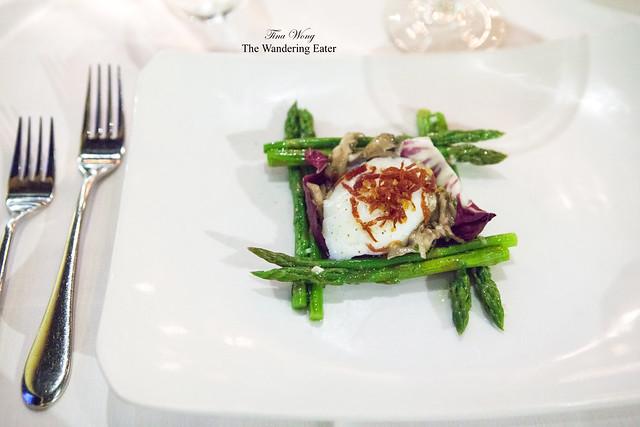 Asparagus salad with poached egg and maitake mushrooms, Serrano ham