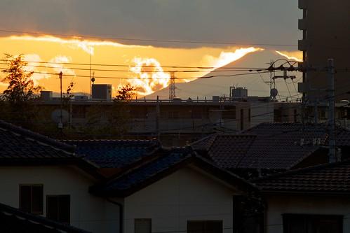 sunset orange japan mountfuji 日本 moriya 富士山 守谷 守山市