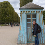 Emily and the guard house, Versailles