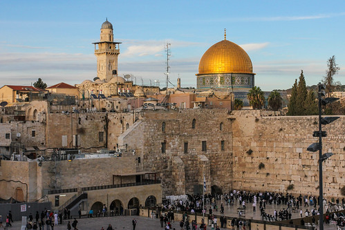 Western Wall with the Dome of the Rock in background | by askii
