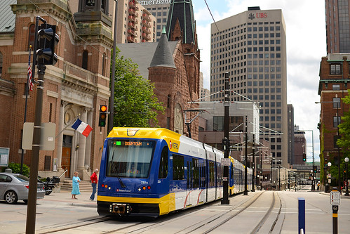 A METRO Green Line train in downtown St. Paul near 10th Street Station, June 15, 2014 | by metrotransitmn