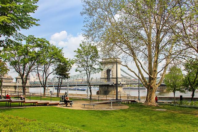 The Chain bridge park in Budapest