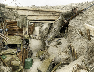 WW1 in colour - Cheshire Regiment in captured trench | Flickr