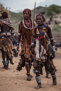 woman tribe hamer dancing during the whipping ceremony, th