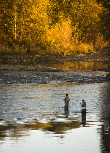autumn sunset sunlight water reflections river fishing salmon flyfishing ripples spawning waders americanriver explored arbt